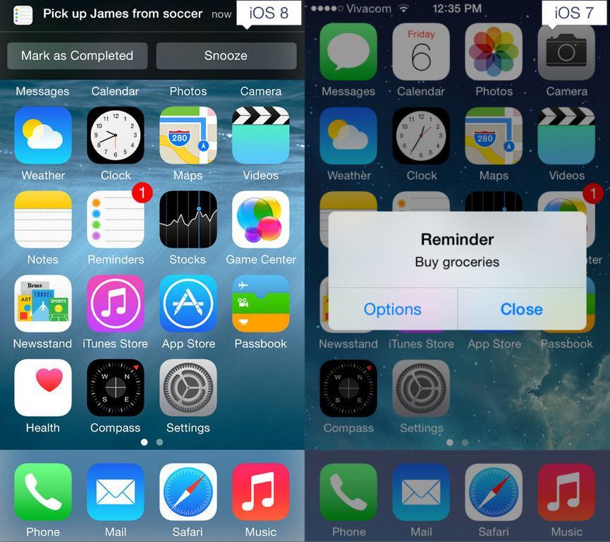 مقایسه iOS 7 و iOS 8
