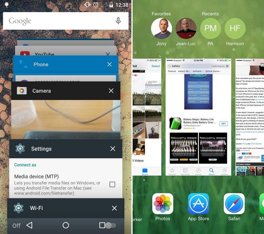 مقایسه تصویری رابط کاربری اندروید 5.0 و iOS 8