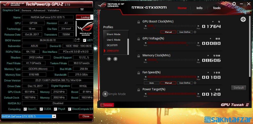بررسی کارت گرافیک  Asus GTX 1070 Ti Advanced Edition 8GB