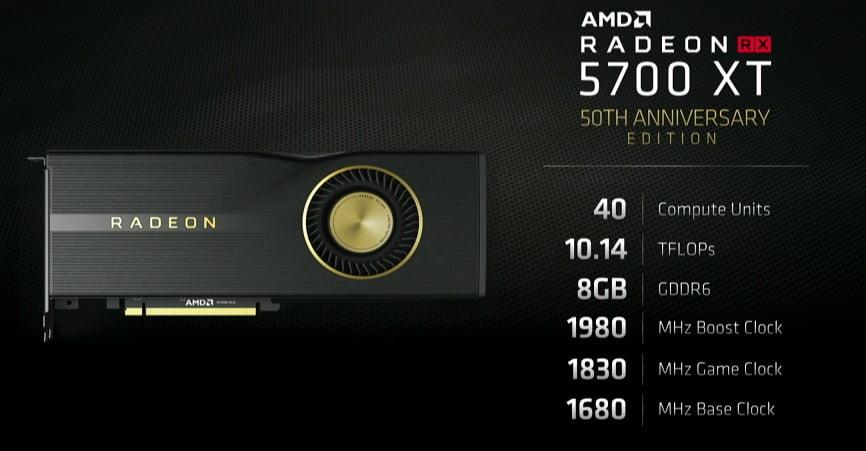 کارت گرافیک AMD Radeon RX 5700 XT 50th Anniversary Edition