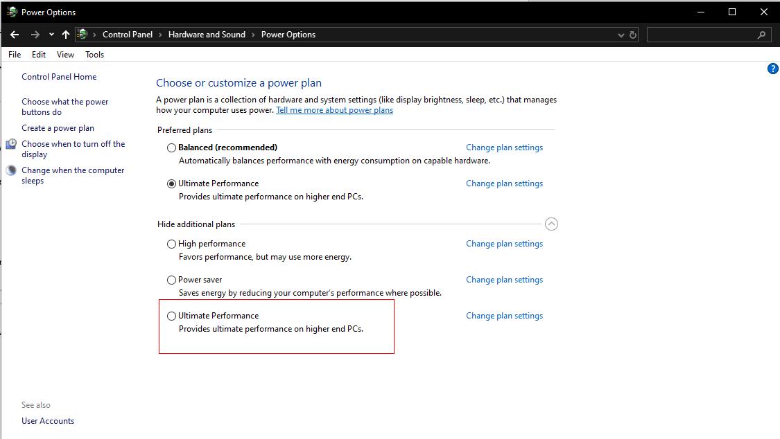 Windows power Option