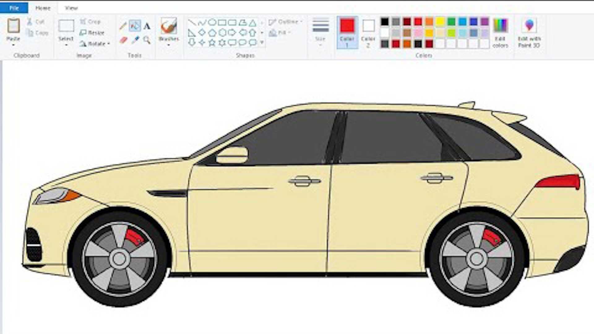 کشیدن طرح خودرو با پینت ویندوز