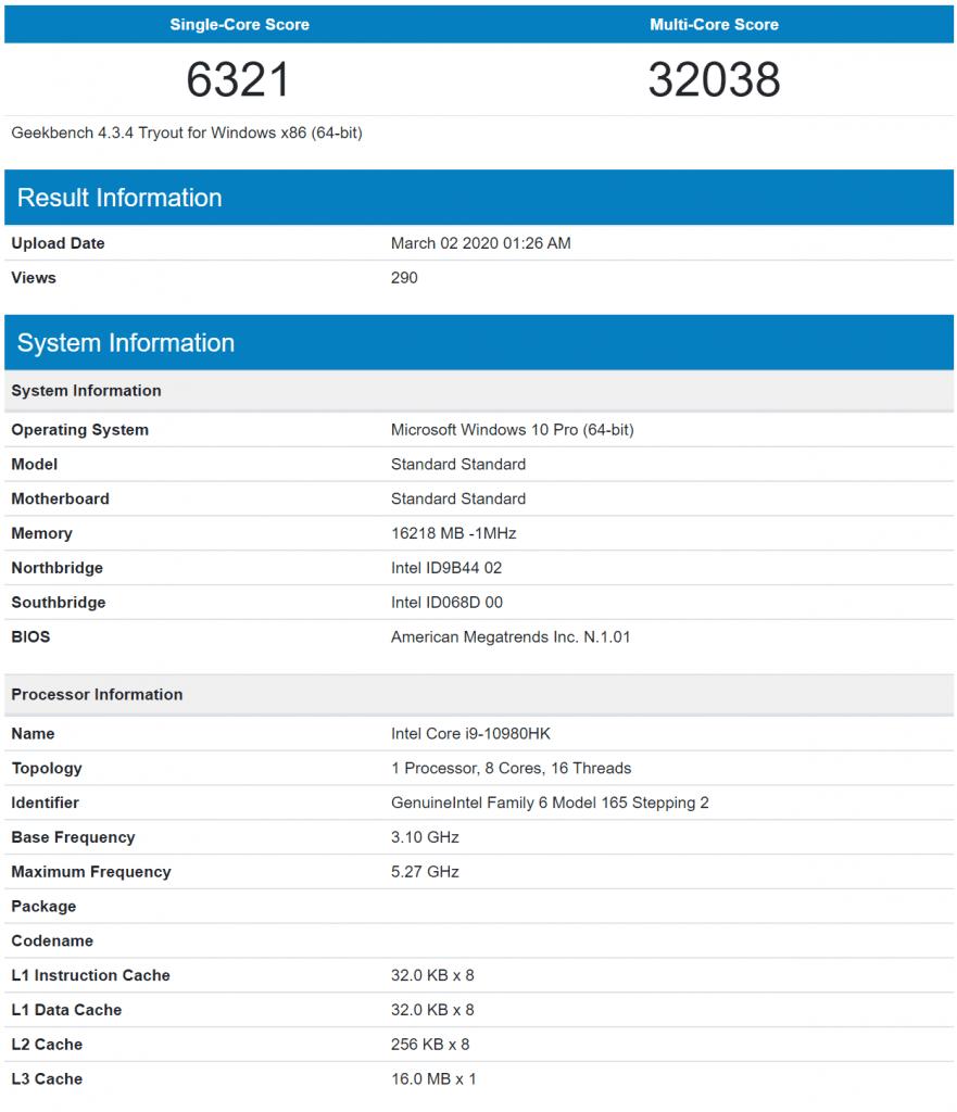 Core i9 10980HK