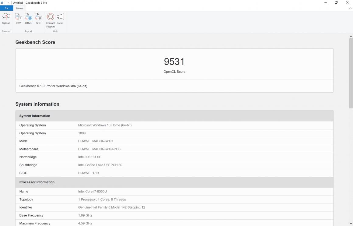 بنچمارک لپتاپ میت بوک X Pro 2019 هوآوی