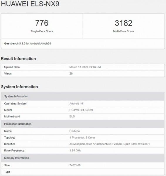 گوشی P40 Pro هوآوی در Geekbench