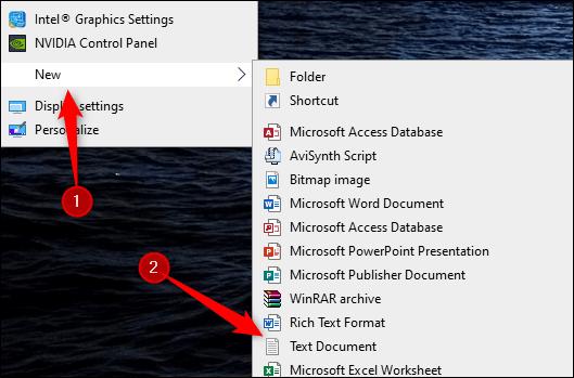 ساخت فایل متن در ویندوز 10