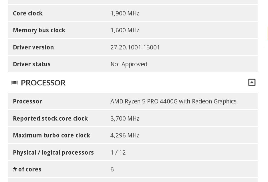 پردازنده Ryzen 5 Pro 4400G در 3DMark