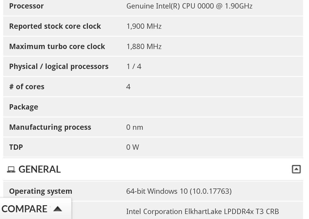 مشخصات پردازنده Elkhart Lake در 3DMark