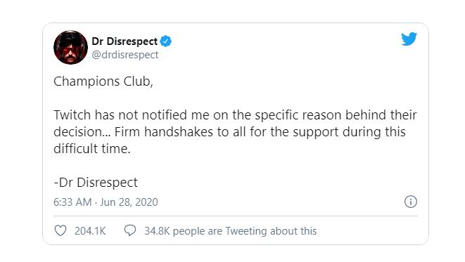 واکنش Dr Disrespect به بن شدن از توییچ