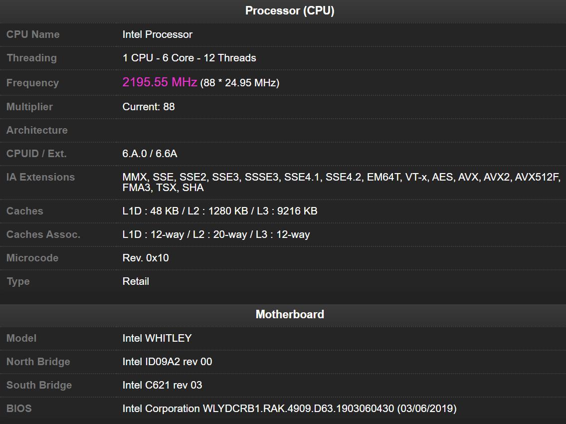 پردازنده Ice Lake-SP در پلتفرم Whitley در CPU Z