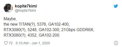 مشخصات احتمالی RTX 3090 و RTX 3080