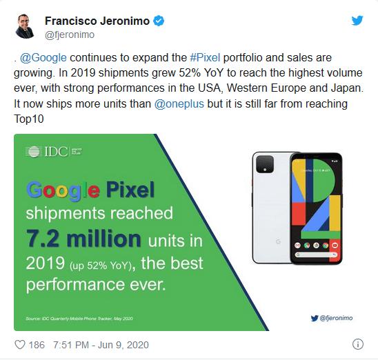 رکورد فروش تلفن همراه گوگل در سال 2019