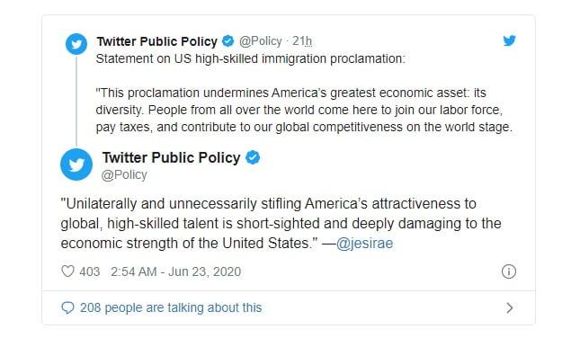 واکنش توئیتر به حکم توقف صدور ویزا H-1B