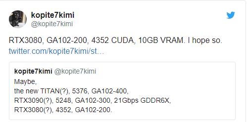 ادعای Kopite7kimi درباره مشخصات احتمالی RTX 3080
