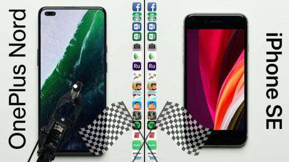 مقایسه سرعت وانپلاس نورد و آیفون SE اپل