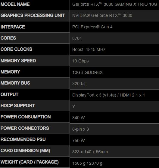 مشخصات کارت گرافیک MSI RTX 3080 GAMING X TRIO