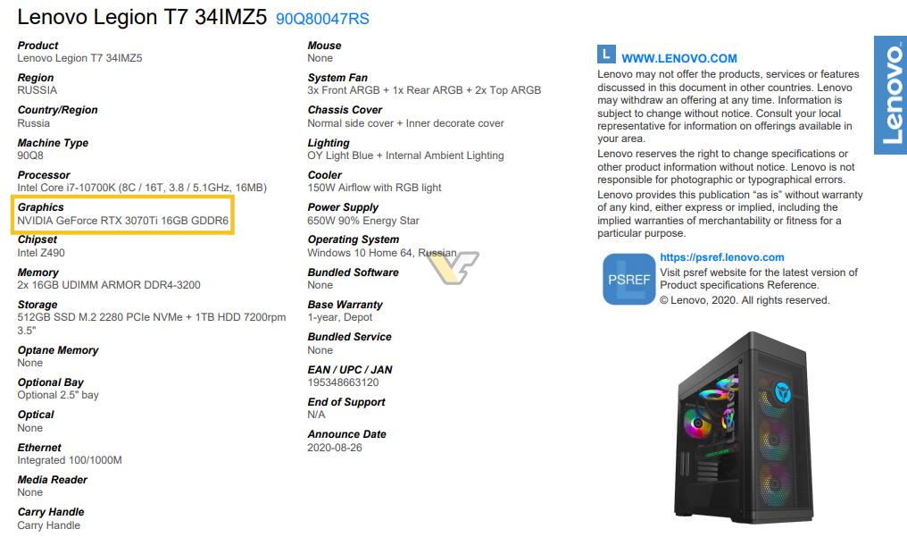 NVIDIA GeForce RTX 3070 Ti مشاهده شد