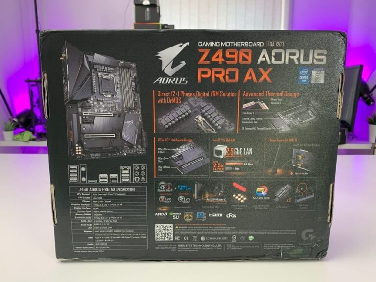نمای پشت باکس مادربرد Gigabyte Z490 AORUS PRO AX