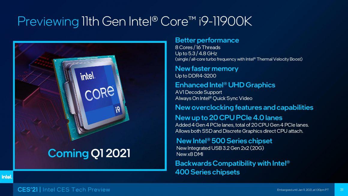 معرفی و بنچمارک رسمی Core i9 11900K