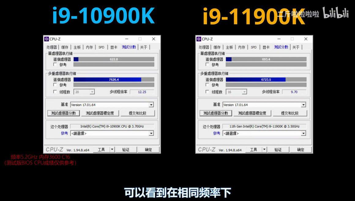 بنچمارک های نمونه کیفی پردازنده Core i9 11900K در CPU Z