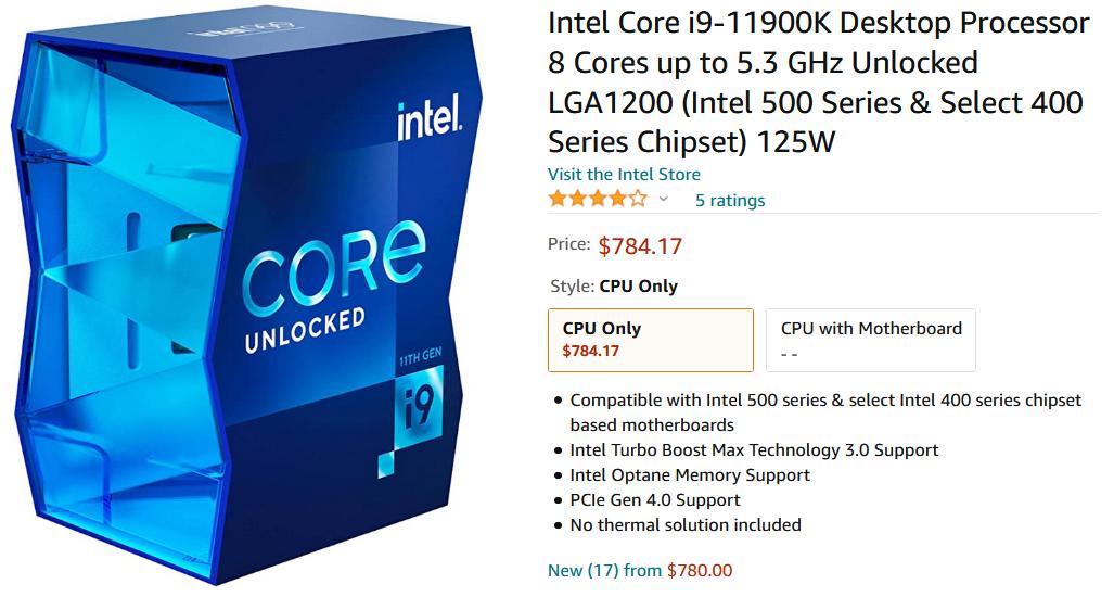 افزایش قیمت Core i9 11900K