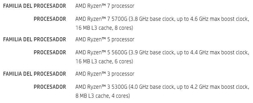 مشخصات سری Ryzen 5000G