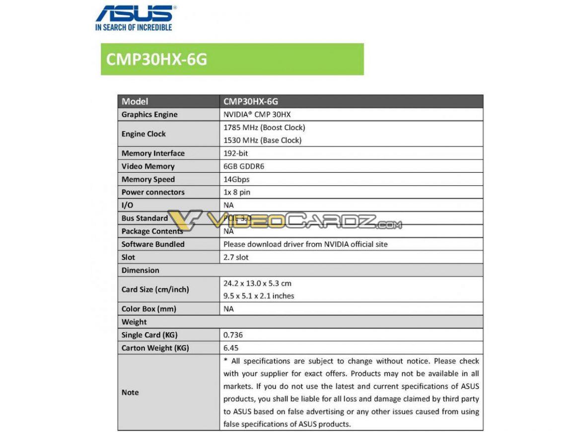 گرافیک ASUS CMP 30HX با نورپردازی ARGB