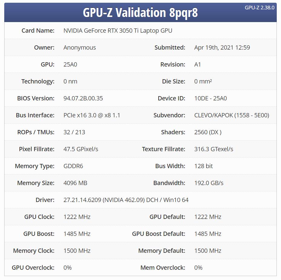 مشخصات GeForce RTX 3050 Ti موبایل از طریق GPU Z تایید شد