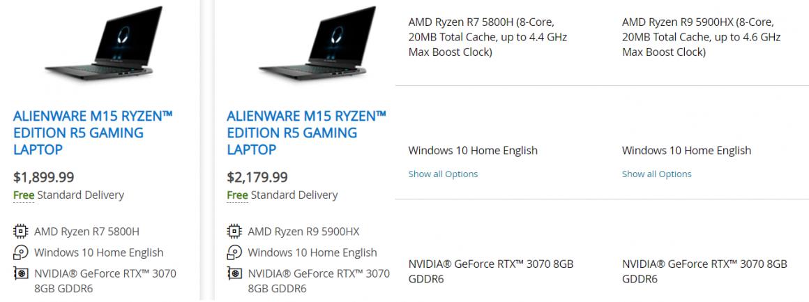 کاهش عملکرد GeForce RTX 3070 در نوت بوک Alienware m15 R5 به شکل عمدی