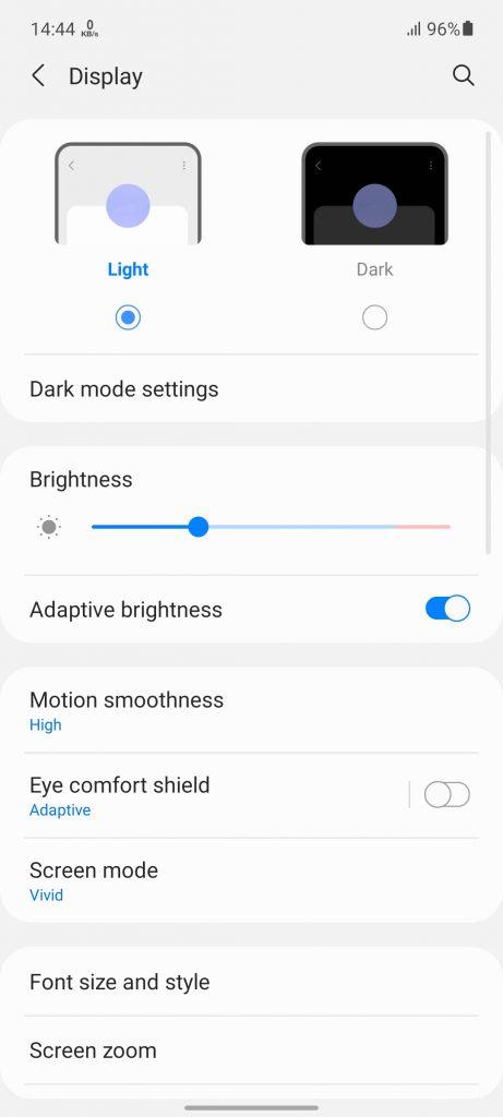 تنظیمات نمایشگر گوشی گلکسی A52 سامسونگ   Samsung Galaxy A52