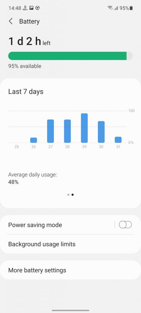 تنظیمات باتری گوشی گلکسی A52 سامسونگ   Samsung Galaxy A52