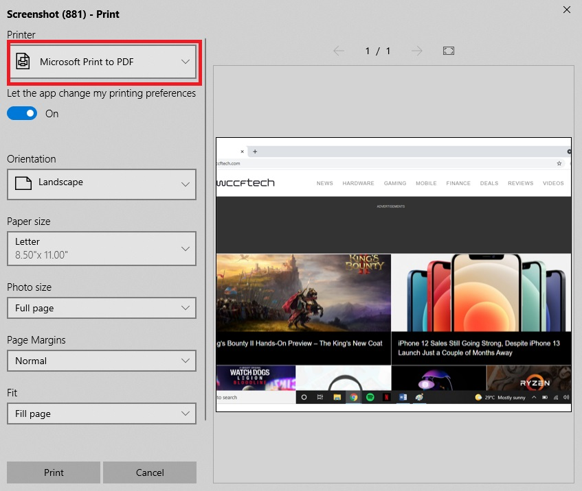 آموزش ذخیره اسکرین شات به عنوان PDF در ویندوز 10